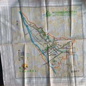 地图手帕,旅游纪念品。温江区田园绿道游览线路及景点。