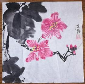 手绘真迹国画:陈静花鸟画02(1尺x1尺)