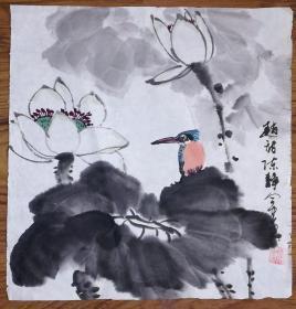 手绘真迹国画:陈静花鸟画04(1尺x1尺)