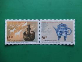 【哈萨克斯坦全新邮票】哈萨克斯坦与中国联合发行邮票:奶壶(2枚全)