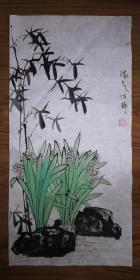 手绘真迹国画:陈静花鸟画10(2尺x1尺)