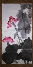 手绘真迹国画:陈静花鸟画15(2尺x1尺)
