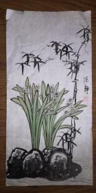 手绘真迹国画:陈静花鸟画16(2尺x1尺)