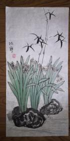 手绘真迹国画:陈静花鸟画21(2尺x1尺)