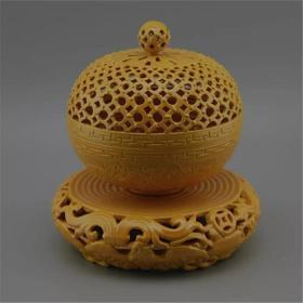 黄釉旋转式镂空熏炉香炉摆件