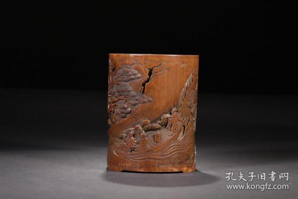 清代,竹雕赤壁游笔筒