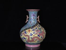 清乾隆珐琅彩双龙戏珠纹双耳花瓶