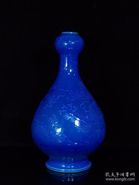 明永乐孔雀蓝浮雕云龙纹蒜头瓶