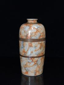 清乾隆墨彩石纹紫金釉回纹描金梅瓶