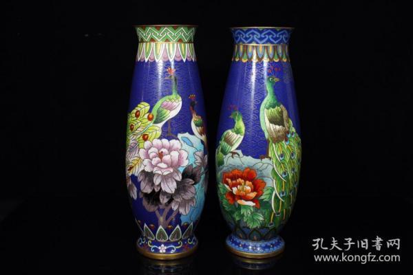 紫铜胎景泰蓝花瓶一对l