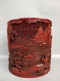 细节图:旧藏清代剔红漆器笔筒《听松观瀑图》书房冒筒大摆件