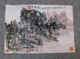国画山水画小品软片 林深有人家 原稿手绘