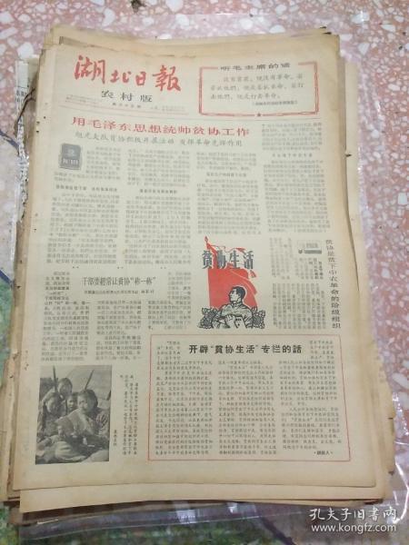湖北日报农村版1966年4月26日(8开四版);用毛泽东思想统帅贫协工作;南越军民三个月来的光辉胜利