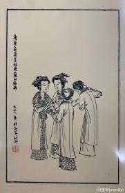 唐寅孟蜀宫妓图苏州桃花坞木刻木版年画非遗门神财神套色春节特卖