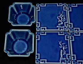 清代霁蓝釉茶具一套【壶9.5x17cm 杯4x6.8cm 托1.8x8.5cm】