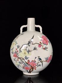 清雍正珐琅彩花鸟纹抱月瓶