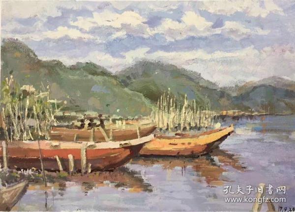 清新宁静水粉风景画