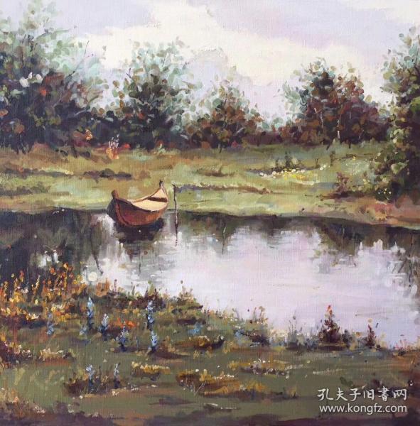 一叶泽舟图,油画作品,风格静谧,色彩丰富逼真,给人以超然世外的宁静清幽之感,家居装饰佳品!