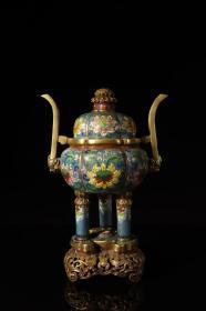 明代,铜鎏金掐丝珐琅缠枝莲纹三足炉