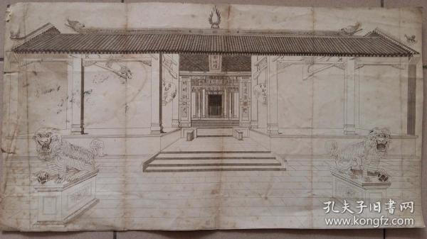 """清代西洋单点透视画铜版印""""广州都城隍庙""""图(稀少)"""