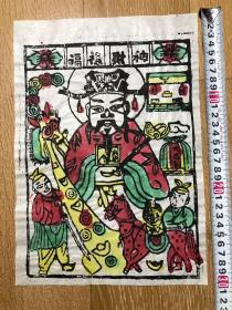木版年画  (30×21)cm 福禄财神