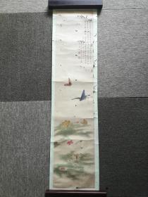 清,孙惕轩(元堃)国画《蝶舞》,96cm*21cm