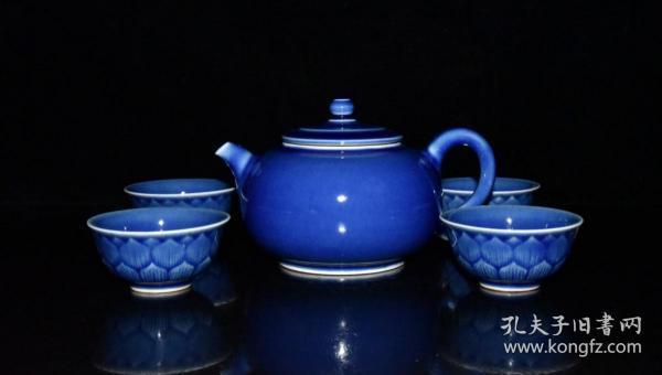 清代霁兰釉茶具一套【壶8x14.5cm  杯3x6.5cm】