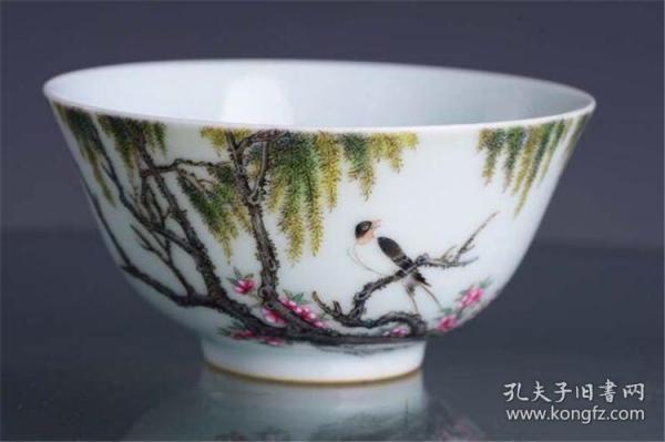 清雍正官窑珐琅彩柳林春燕茶碗茶杯茶盏