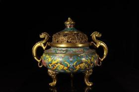 清乾隆,铜鎏金掐丝珐琅云龙纹三足炉