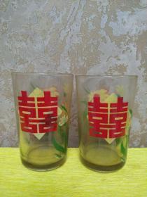 红双喜玻璃杯  文革时期  完好无损