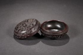 旧藏,红木龙凤纹印泥盒