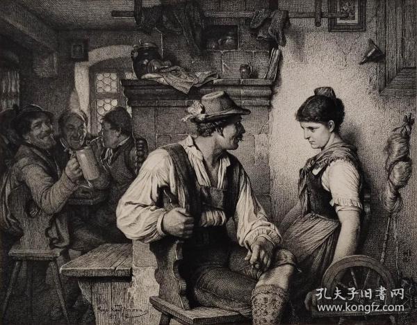 """【高档精品版画】1883年德国艺术大师系列铜版画《恋爱中》—德国画家""""Hugo Wilhelm Kauffmann(1844-1915)""""作品  KARL ERNST FORBERG 雕刻 46x29cm"""