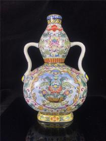 老瓷胎画珐琅双耳葫芦瓶