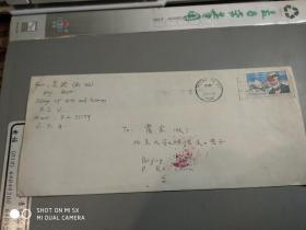 美国物理学,吴迪。信札1件带封,有照片一张