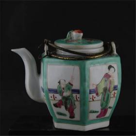 粉彩绿釉六棱茶壶
