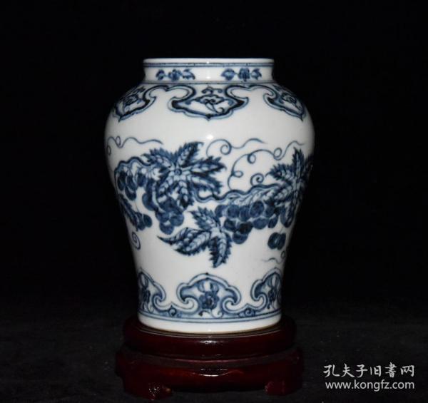 旧藏 明宣德青花花果纹罐 尺寸14X11