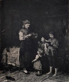 """【高档精品版画】1883年德国艺术大师系列铜版画《恋爱中》—匈牙利画家""""米哈伊·冯·穆卡西斯(Mihaly von Munkacsy,1844-1900年)""""作品  WILLIAM UNGER 雕刻 46x29cm"""