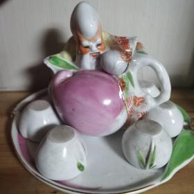 老寿星酒壶全品带6个小碗