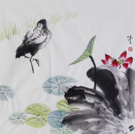 【自写自销】当代艺术家协会副主席王丞手绘荷塘小景19225