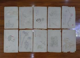 民国时期诗婢家木版水印套色信笺、花笺(十张合售)