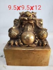 清代铜龙大印,个头大,造型独特,包浆一流,完整漂亮