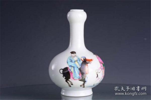 清雍正官窑珐琅彩高士访友图纹蒜头瓶