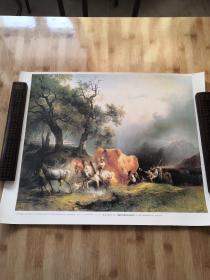 (德)弗里德里奇 高尔门:策勒河畔暴风雨中的运谷车   馆藏油画精印海报装饰挂画