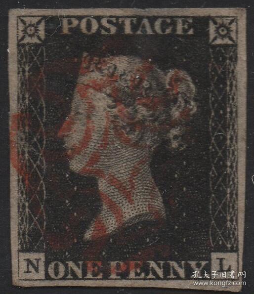 英国黑便士邮票,1840年NL位置,维多利亚女王,马耳他十字戳,旧