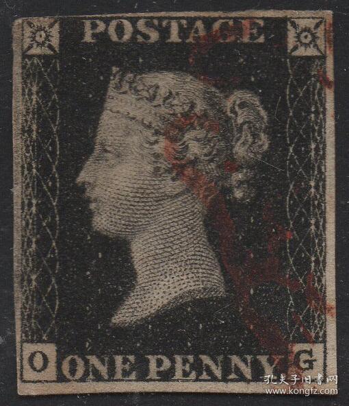英国黑便士邮票,1840年OG位置,维多利亚女王,马耳他十字戳,旧