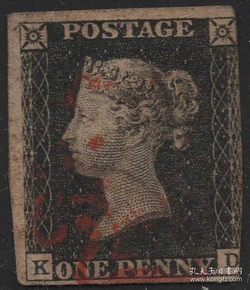 英国黑便士邮票,1840年KD位置,维多利亚女王,马耳他十字戳,旧