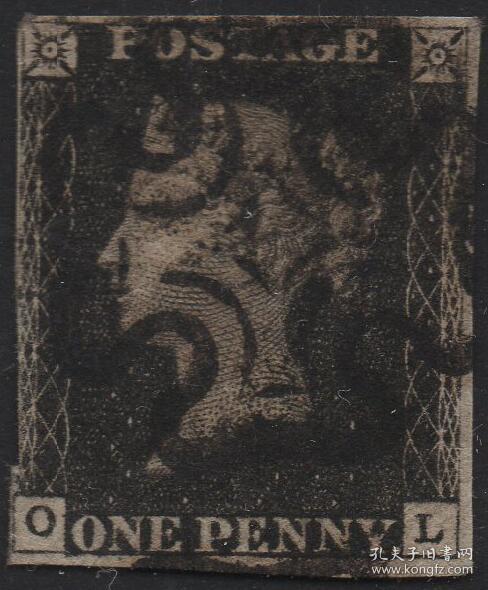 英国黑便士邮票,1840年OL位置,维多利亚女王,马耳他十字戳,旧