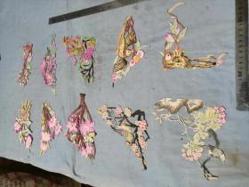 晚清民国五彩手绘剪纸一组10片花鸟人物