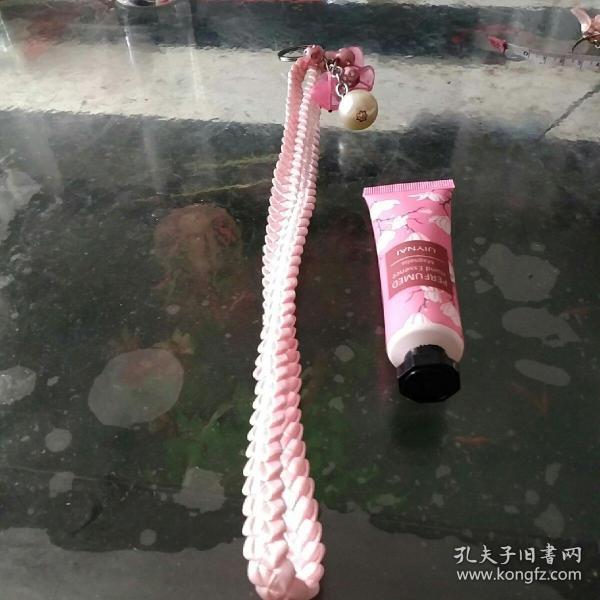 彩帶編織鑰匙鏈11粉色樹葉