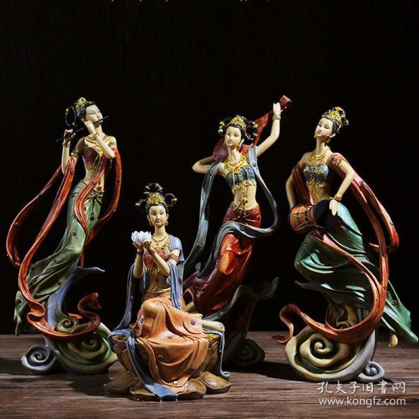 中式敦煌飞天摆件禅意家居装饰品一套四件博古架客厅书房办公室创意工艺品